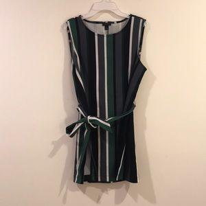 tie waist striped tunic